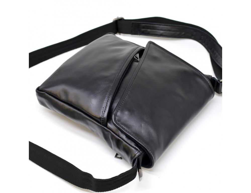 Чёрная кожаная сумка на одно отделение TARWA GA-1302-3md - Фото № 4
