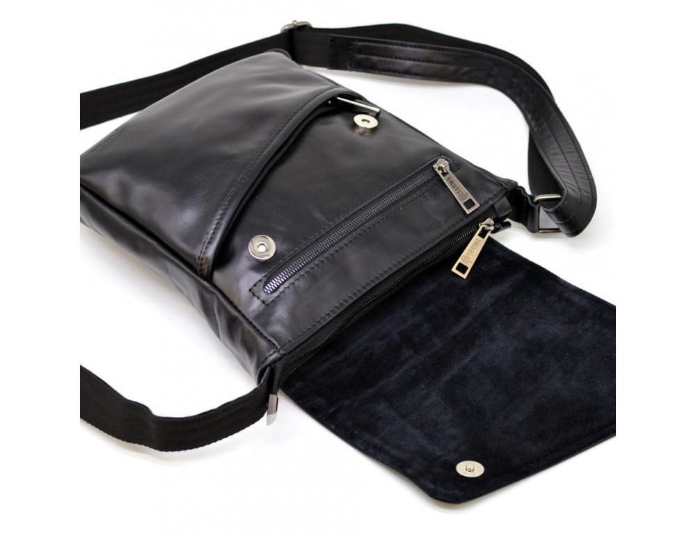 Чёрная кожаная сумка на одно отделение TARWA GA-1302-3md - Фото № 5