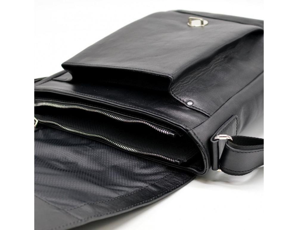 Чёрная стильная сумка на плечо формата A4 TARWA GA-1811-4lx - Фото № 7