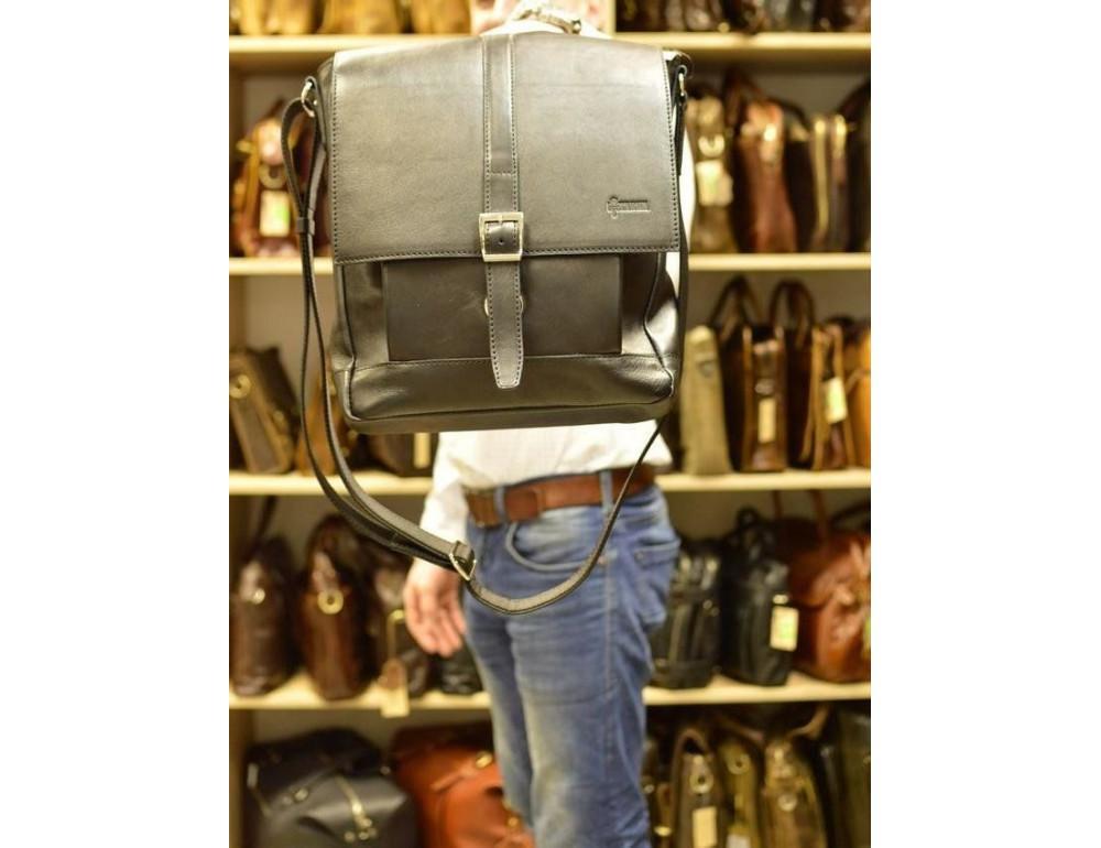 Чёрная стильная сумка на плечо формата A4 TARWA GA-1811-4lx - Фото № 8