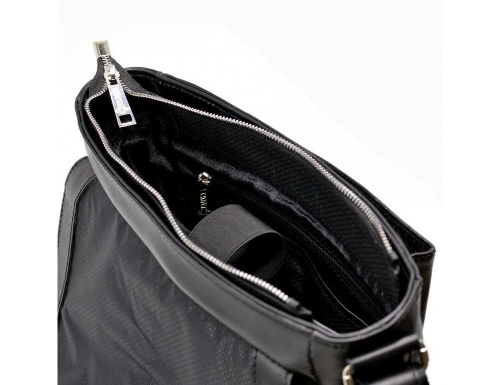 Чёрная стильная сумка на плечо формата A4 TARWA GA-1811-4lx - Фото № 9