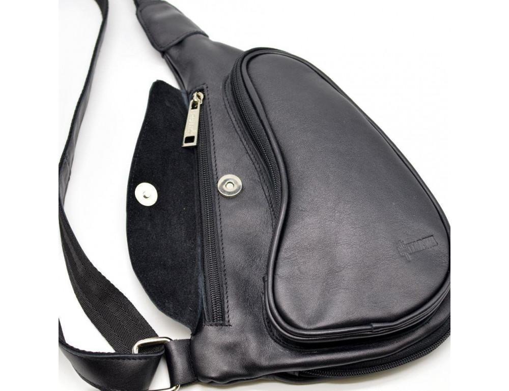 Чёрный кожаный рюкзак на одно плечо Tarwa GA-3026-3md - Фото № 2