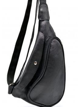 Чёрный кожаный рюкзак на одно плечо Tarwa GA-3026-3md