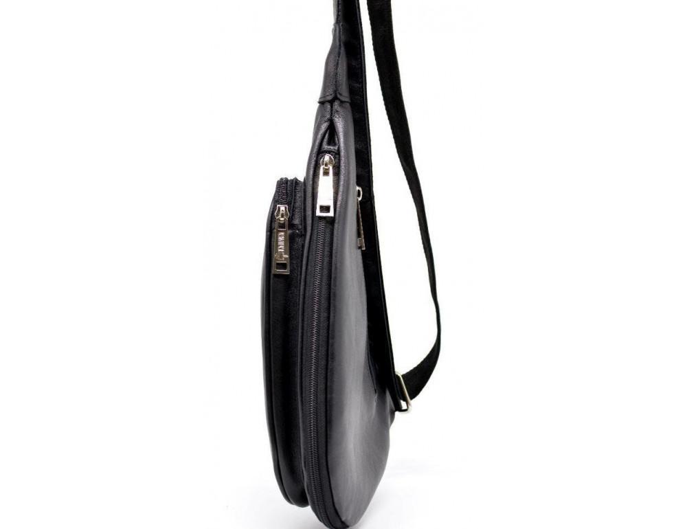 Чёрный кожаный рюкзак на одно плечо Tarwa GA-3026-3md - Фото № 5