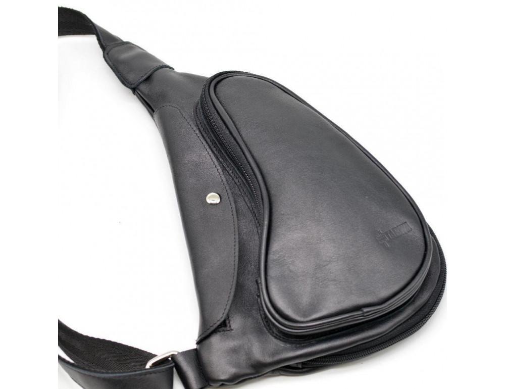 Чёрный кожаный рюкзак на одно плечо Tarwa GA-3026-3md - Фото № 6
