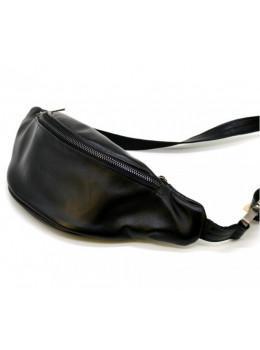 Чёрная кожаная сумка на пояс TARWA GA-3035-3md