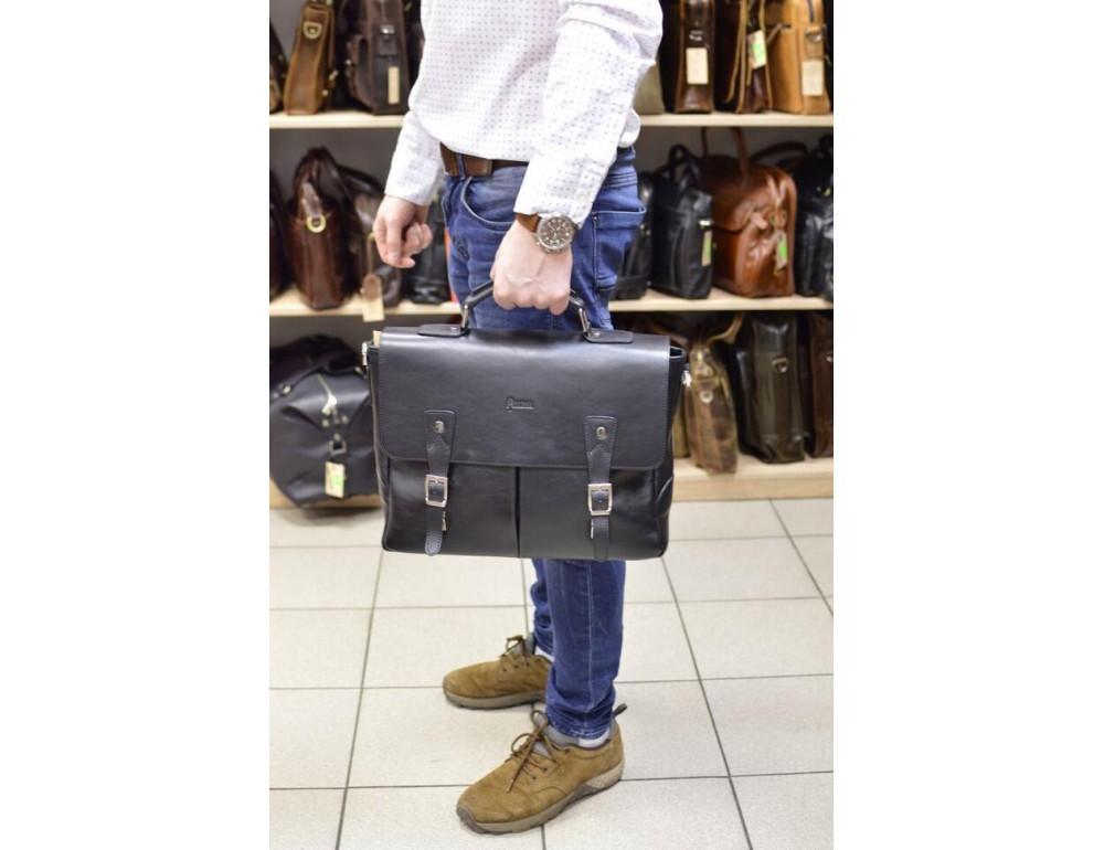 Чёрная кожаная сумка на два отделения TARWA GA-3960-4lx - Фото № 2