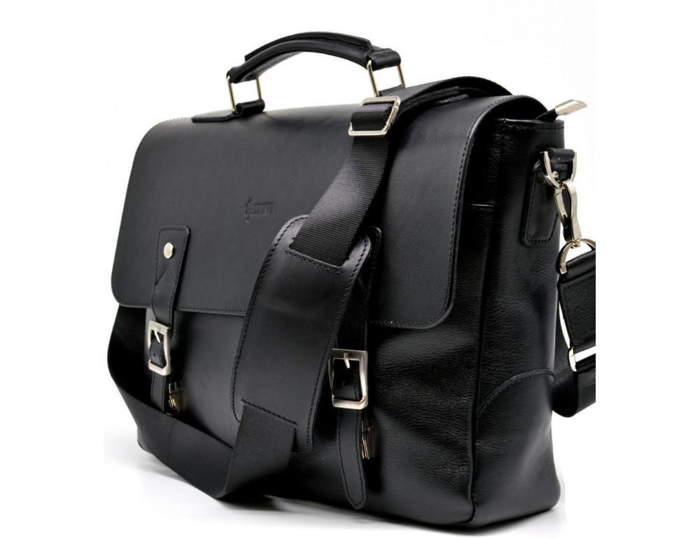 Чёрная кожаная сумка на два отделения TARWA GA-3960-4lx - Фото № 3