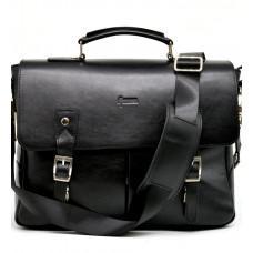Чёрная кожаная сумка на два отделения TARWA GA-3960-4lx