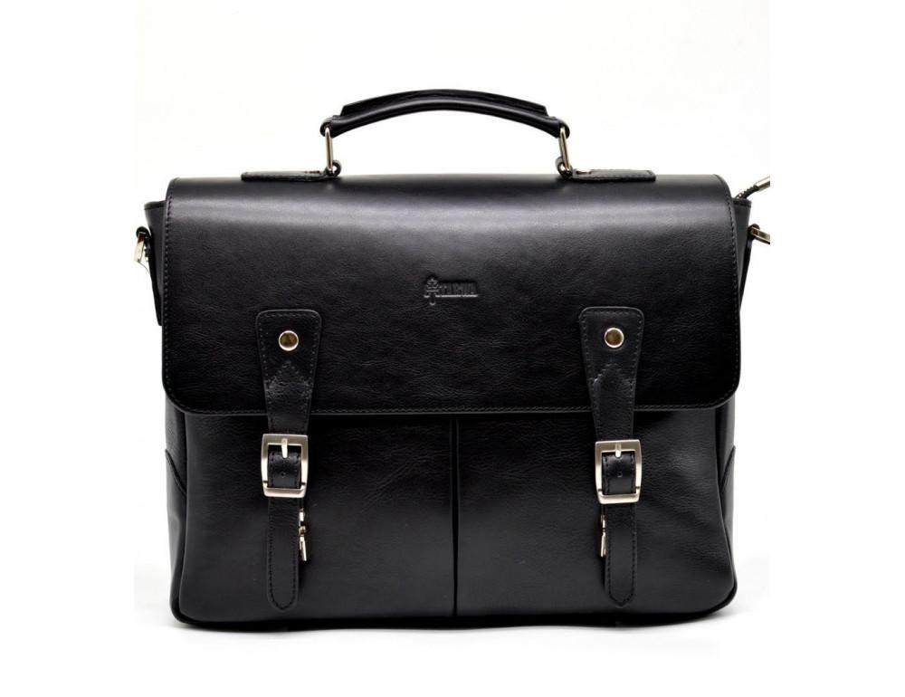 Чёрная кожаная сумка на два отделения TARWA GA-3960-4lx - Фото № 4