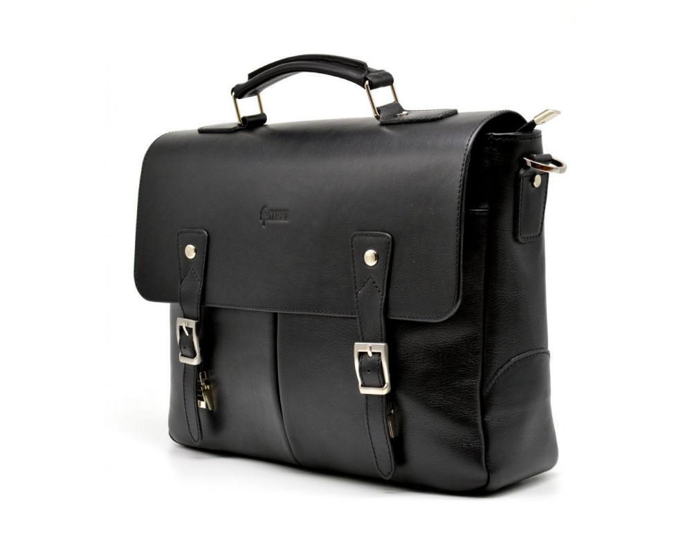 Чёрная кожаная сумка на два отделения TARWA GA-3960-4lx - Фото № 5