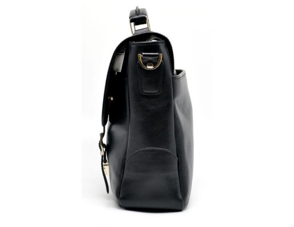 Чёрная кожаная сумка на два отделения TARWA GA-3960-4lx - Фото № 7