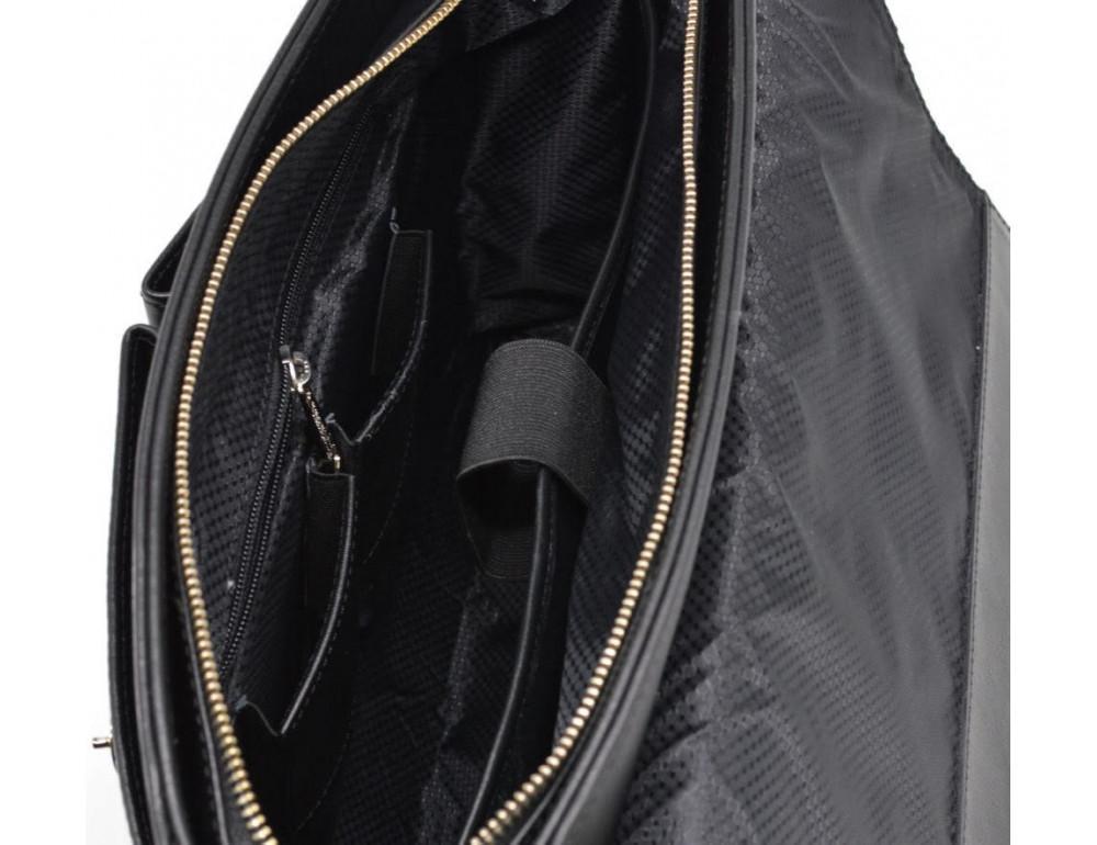 Чёрная кожаная сумка на два отделения TARWA GA-3960-4lx - Фото № 8
