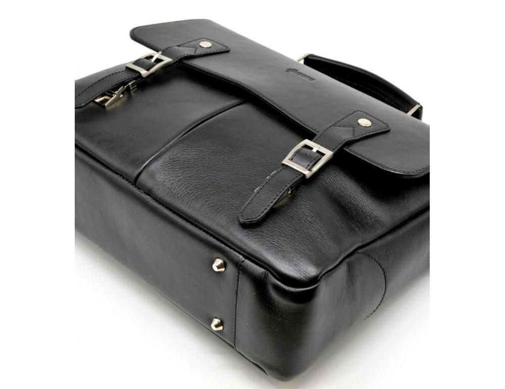 Чёрная кожаная сумка на два отделения TARWA GA-3960-4lx - Фото № 9
