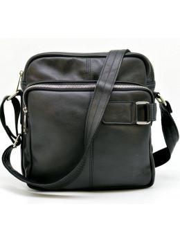 Чёрная кожаная сумка через плечо TARWA GA-6012-3md