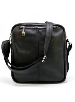 Чёрная кожаная сумка-мессенджер на два отделения TARWA GA-60121-3md