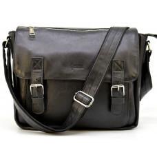 Чорна шкіряна сумка через плече TARWA GA-6046-2md