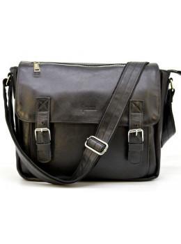 Чёрная кожаная сумка через плечо TARWA GA-6046-2md