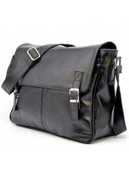 Чёрная сумка из натуральной кожи через плечо TARWA GA-7022-3md