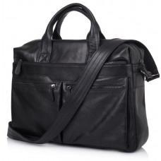 Чёрный кожаный портфель для диагонали 16 дюймов TARWA GA-7122-3mdL