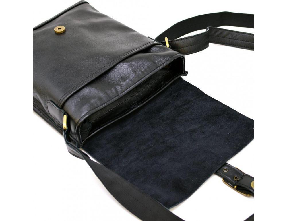 Чёрная кожаная сумка через плечо TARWA GA-7157-3md - Фото № 2