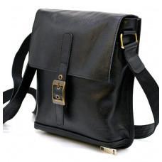 Чорна шкіряна сумка через плече TARWA GA-7157-3md