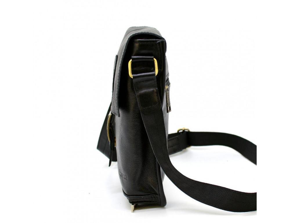 Чёрная кожаная сумка через плечо TARWA GA-7157-3md - Фото № 4