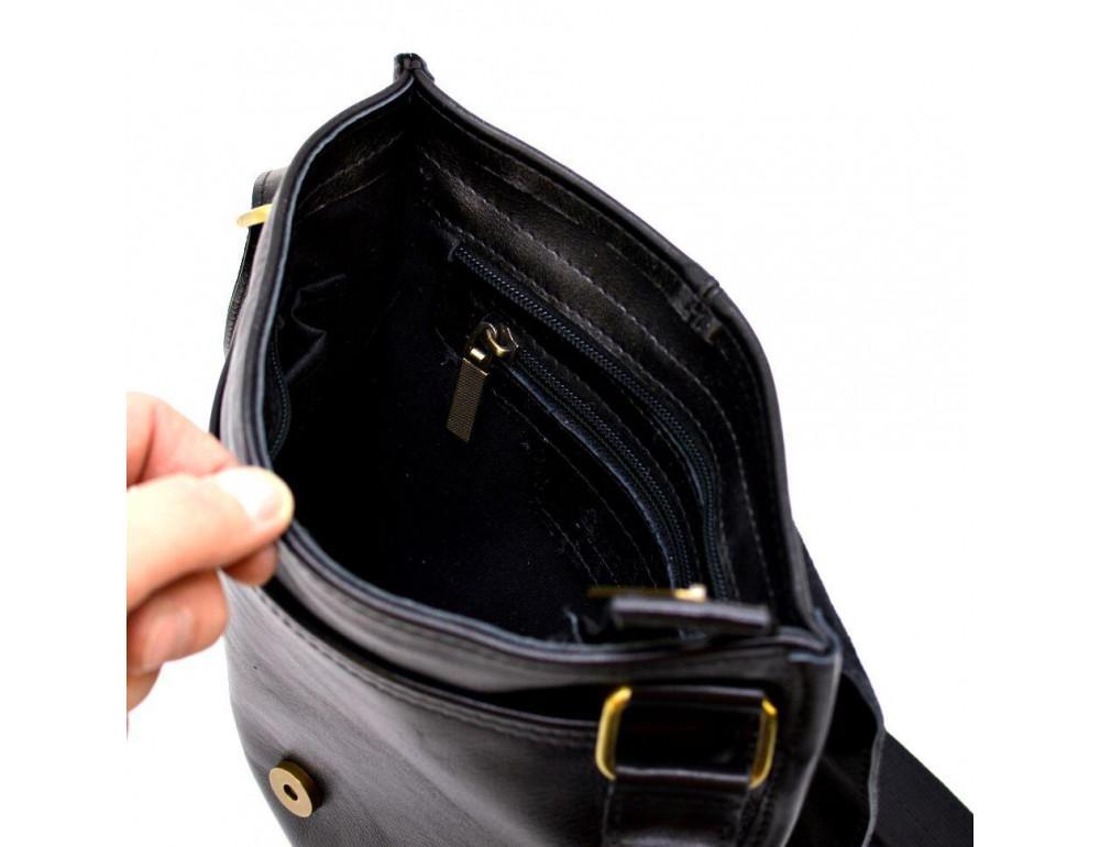 Чёрная кожаная сумка через плечо TARWA GA-7157-3md - Фото № 6