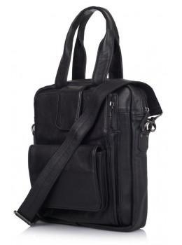 Чорна шкіряна сумка - трансформер TARWA GA-7266-2md