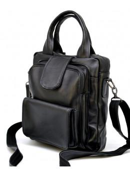 Чёрная кожаная сумка - трансформер TARWA GA-7266-2md