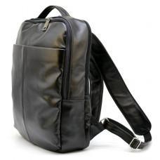 Чёрный городской рюкзак из гладкой кожи TARWA ga-7280-3md