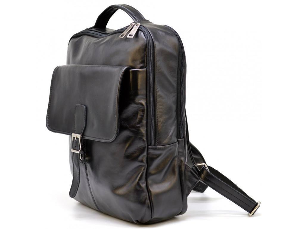 Чёрный кожаный рюкзак на два отделения TARWA GA-7284-3md - Фото № 1