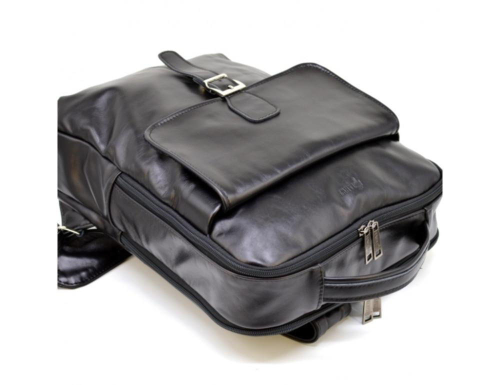 Чёрный кожаный рюкзак на два отделения TARWA GA-7284-3md - Фото № 3