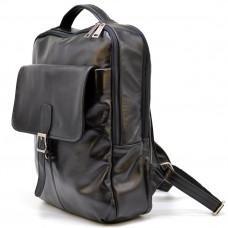 Чёрный кожаный рюкзак на два отделения TARWA GA-7284-3md