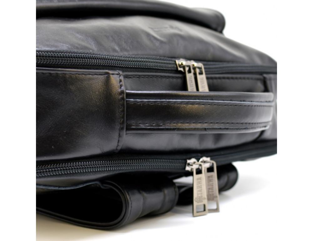 Чёрный кожаный рюкзак на два отделения TARWA GA-7284-3md - Фото № 4