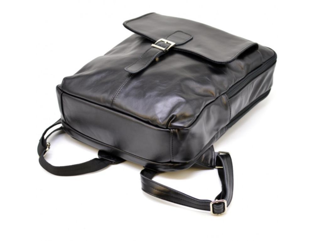 Чёрный кожаный рюкзак на два отделения TARWA GA-7284-3md - Фото № 5