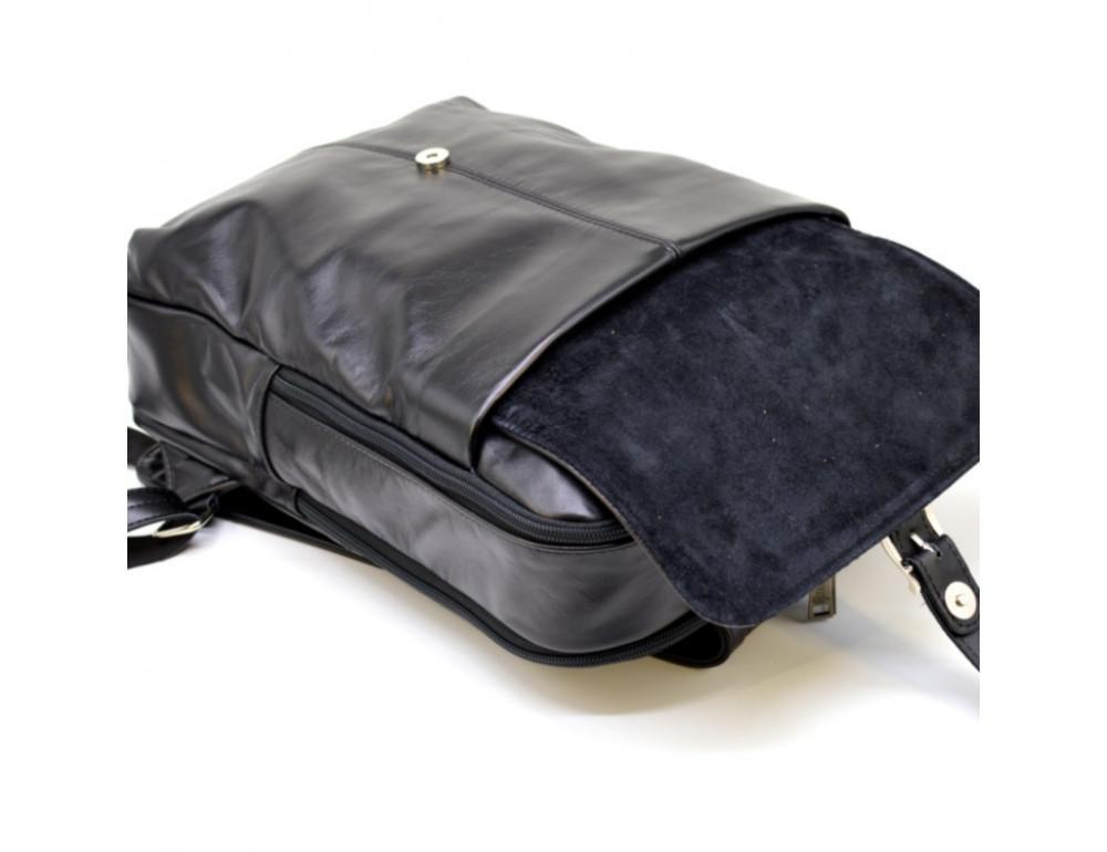 Чёрный кожаный рюкзак на два отделения TARWA GA-7284-3md - Фото № 6