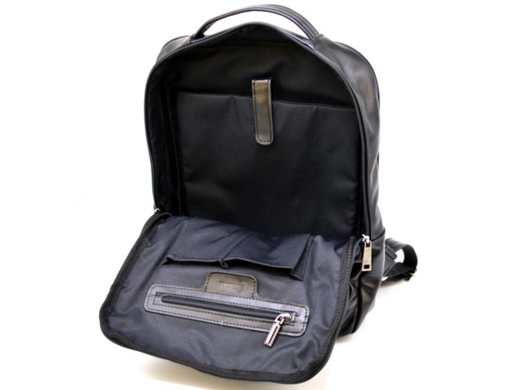 Чёрный кожаный рюкзак на два отделения TARWA GA-7284-3md - Фото № 7
