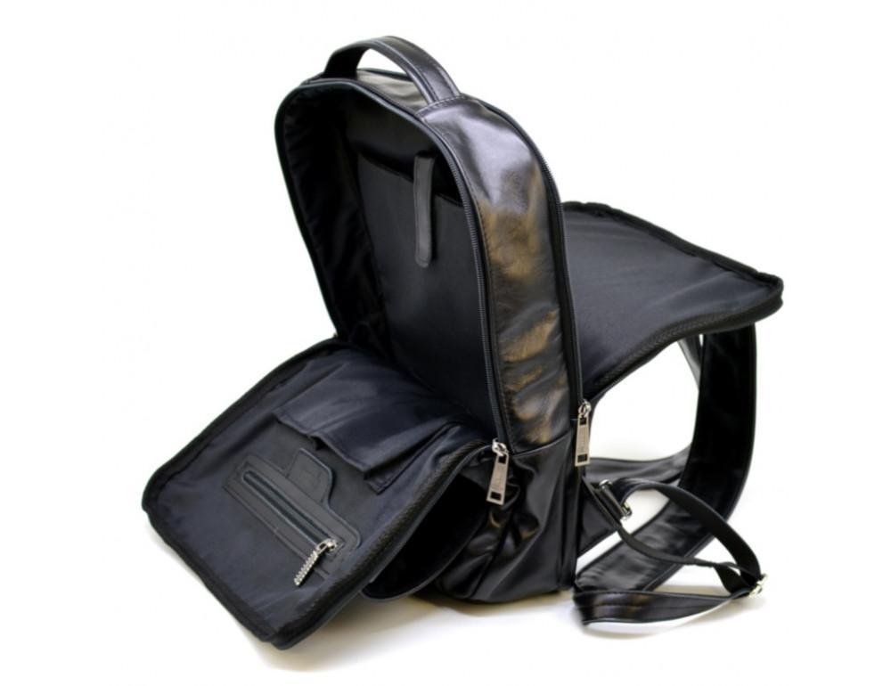 Чёрный кожаный рюкзак на два отделения TARWA GA-7284-3md - Фото № 8