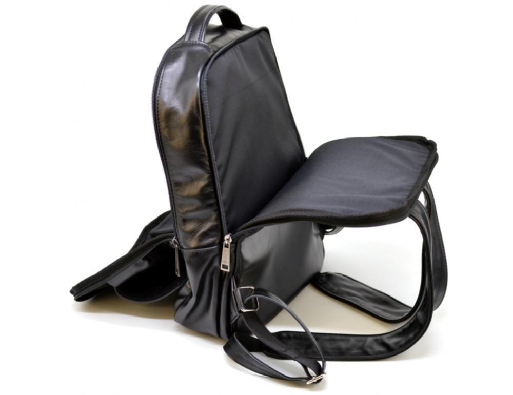 Чёрный кожаный рюкзак на два отделения TARWA GA-7284-3md - Фото № 9