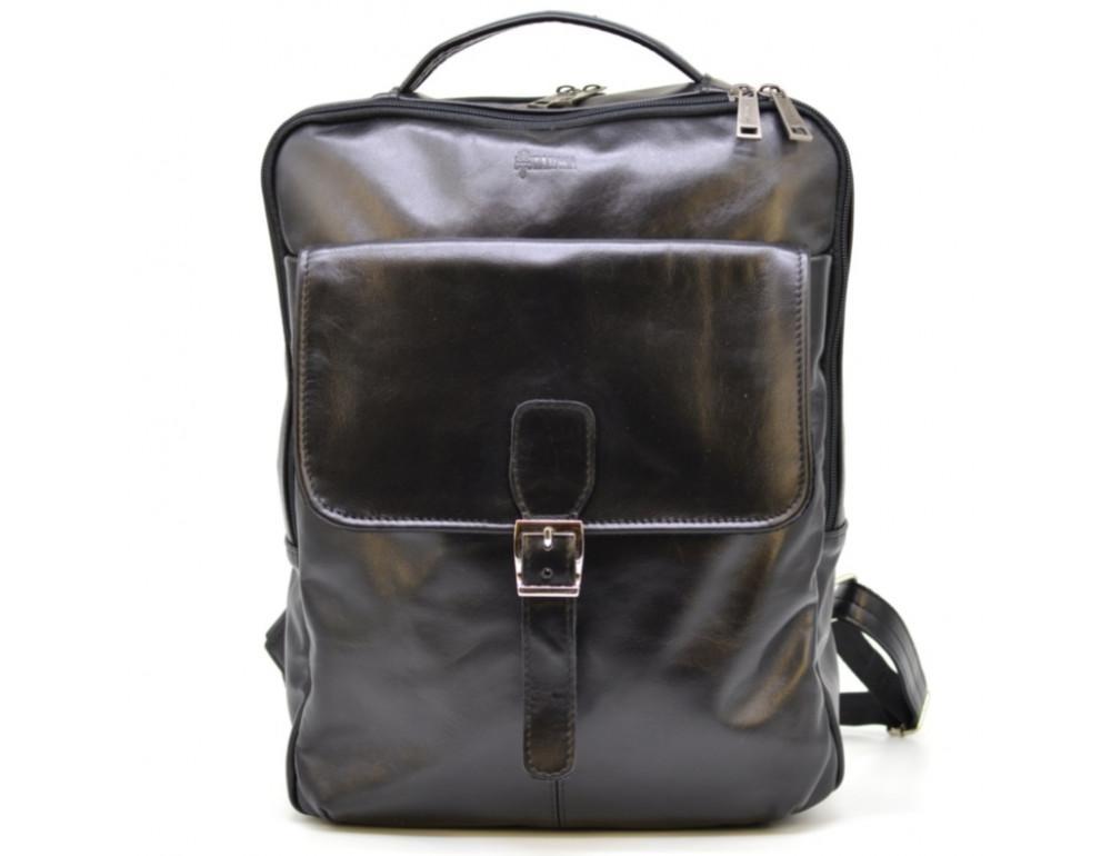Чёрный кожаный рюкзак на два отделения TARWA GA-7284-3md - Фото № 10