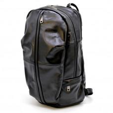 Молодёжный кожаный рюкзак чёрного цвета TARWA GA-7340-3md