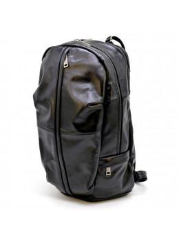 Молодіжний шкіряний рюкзак чорного кольору TARWA GA-7340-3md