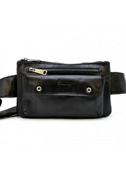 Чёрная кожаная сумка на пояс унисекс GA-8134-3lx