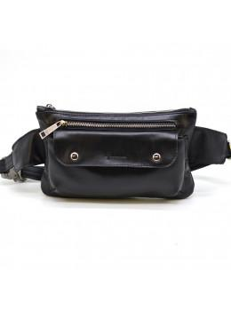 Чёрная кожаная сумка на пояс TARWA GA-8134-4lx