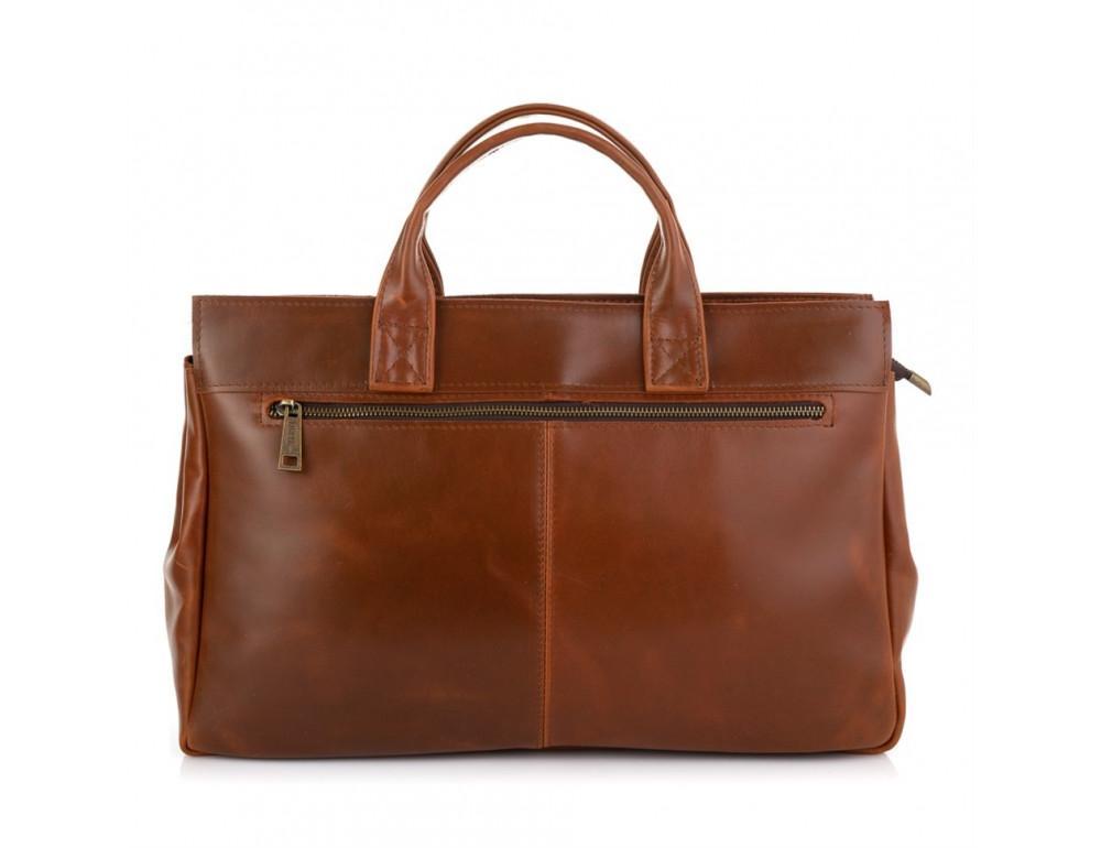 Рыжий кожаный портфель на 16.4 дюйма TARWA GB-7107-3md - Фото № 2