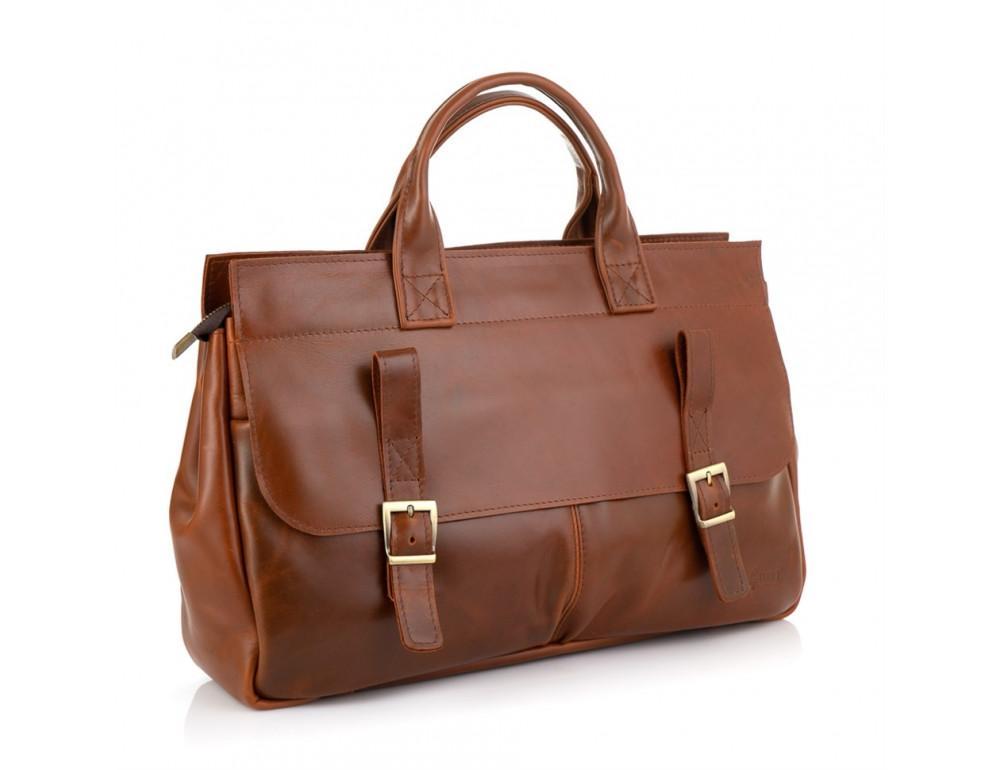 Рыжий кожаный портфель на 16.4 дюйма TARWA GB-7107-3md - Фото № 1
