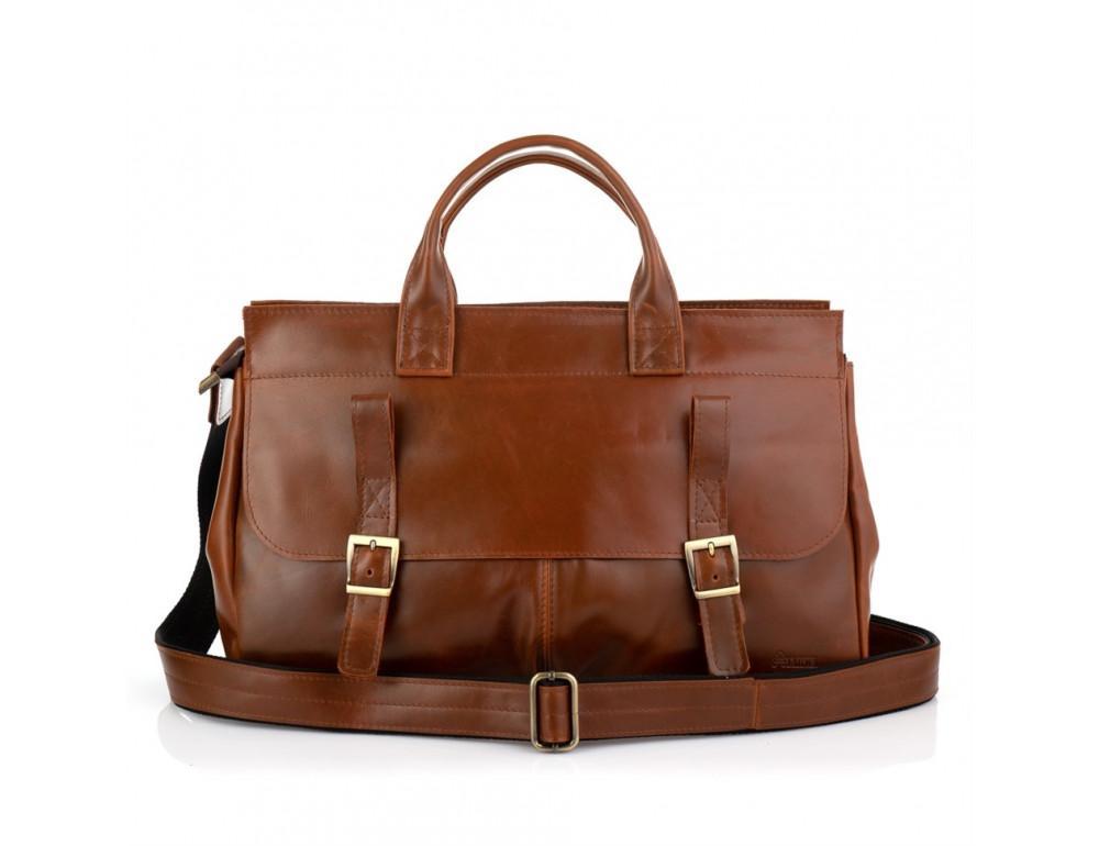 Рыжий кожаный портфель на 16.4 дюйма TARWA GB-7107-3md - Фото № 3