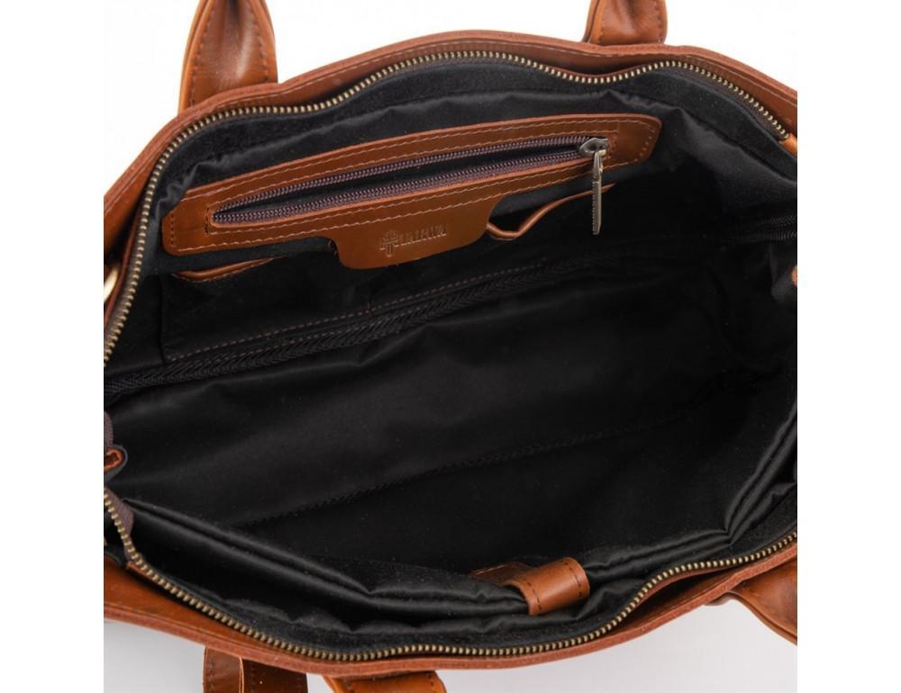 Рыжий кожаный портфель на 16.4 дюйма TARWA GB-7107-3md - Фото № 5