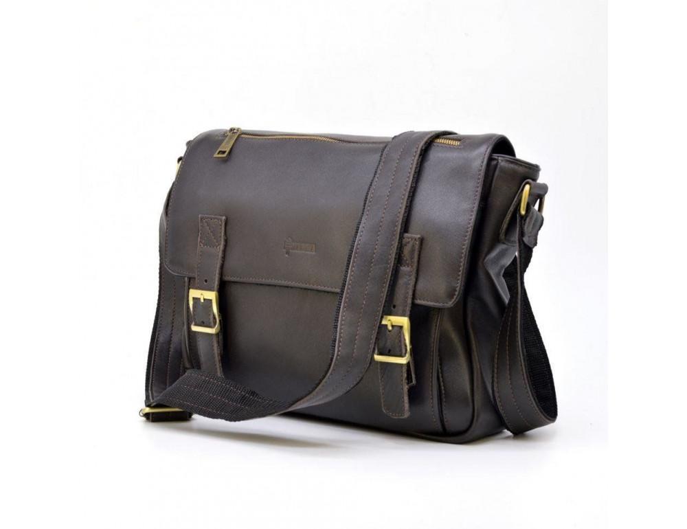 Тёмно-коричневая кожаная сумка через плечо TARWA GC-6046-2md - Фото № 2